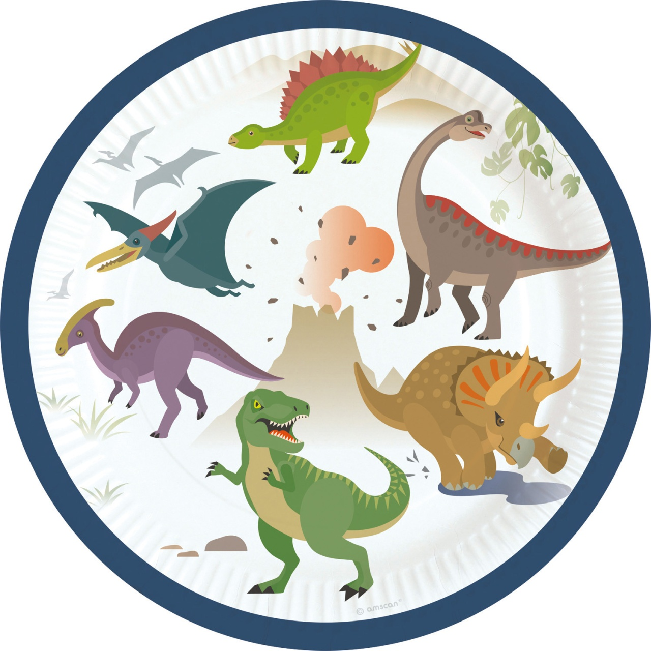 Partyteller Happy Dinosaur 8 Stück 18 cm Dino