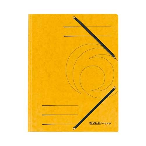 Einschlagmappe A4 mit drei Klappen und Gummizug gelb