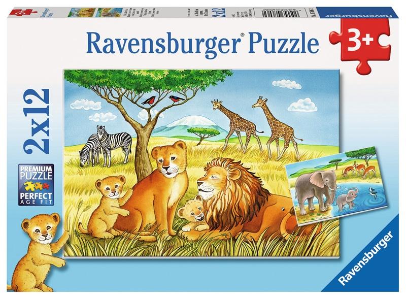 Ravensburger Puzzle Elefant, Löwe & Co. 2 x 12 Teile