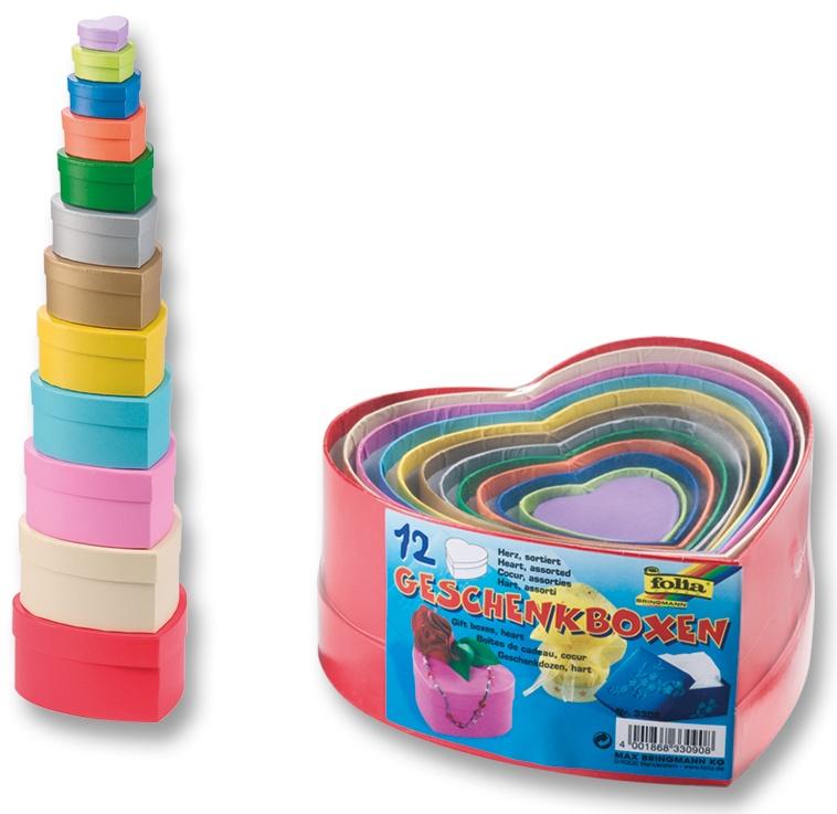 Folia Geschenkboxen Herz farbig 12 Stück
