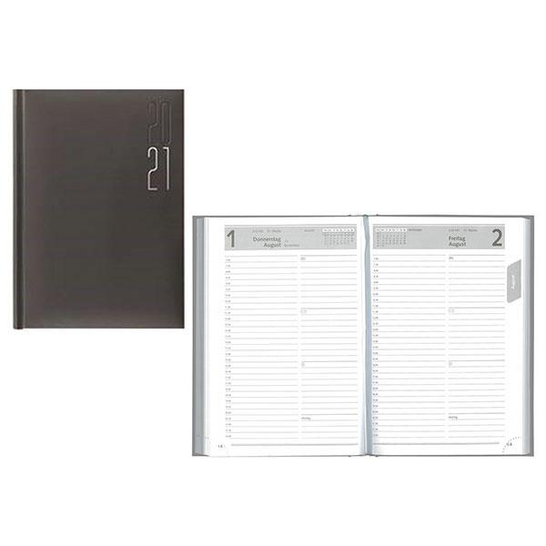 Idena Buchkalender (Kalender) A5 Matra silber 2021
