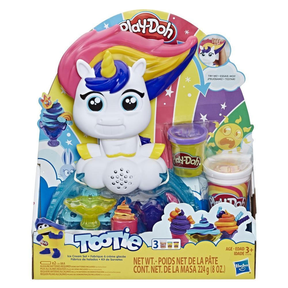 Play Doh Buntes Einhorn Softeis-Set mit 3 Dosen Play-Doh