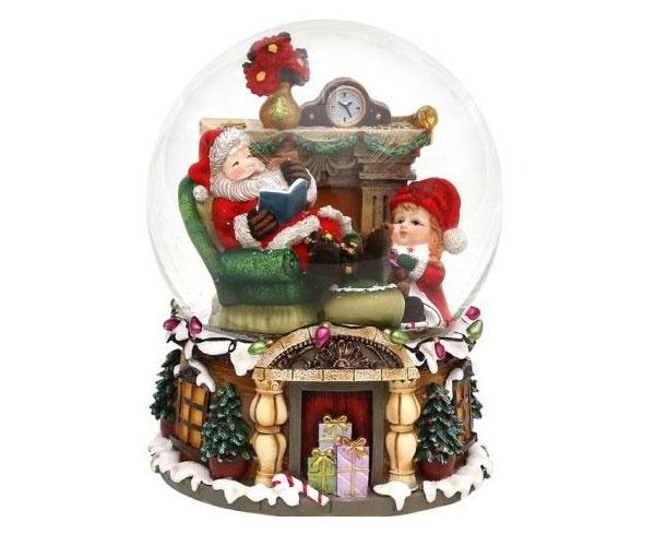Schneekugel Santa mit Spieluhr XXL