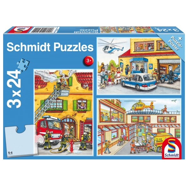 Puzzle Feuerwehr und Polizei 3x24 Teile
