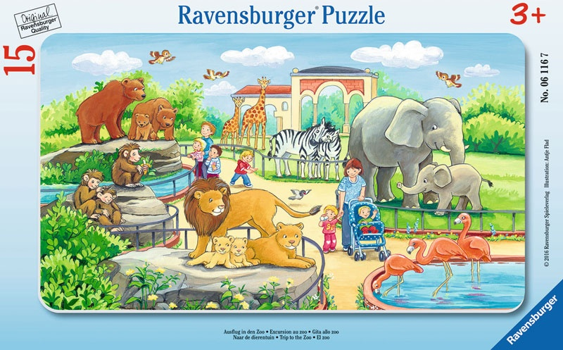 Ravensburger Rahmenpuzzle Ausflug in den Zoo 15 Teile
