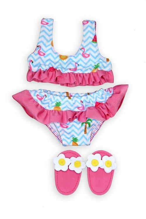 Heless Puppen Flamingo-Bikini mit Badeschläppchen Gr. 28-35