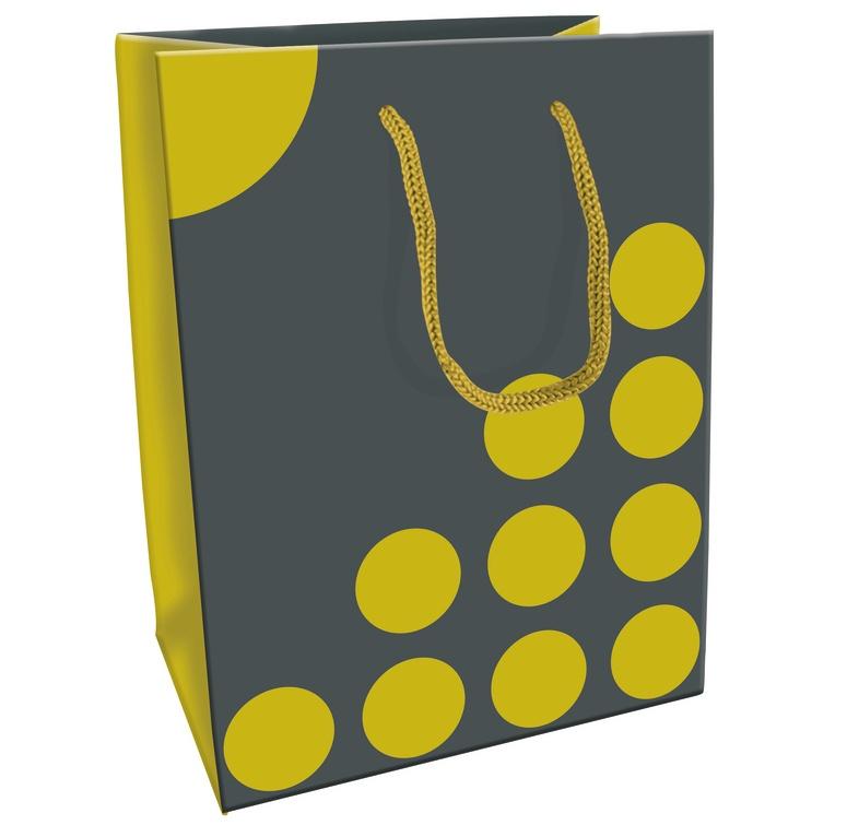 Geschenktasche Dots grau/gelb 19 x 12 x 25 cm