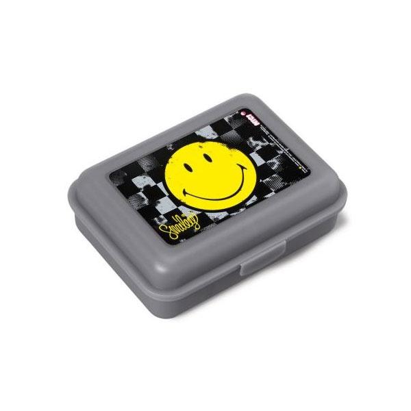 Brotdose Smiley gelb/grau