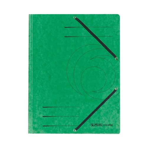 Einschlagmappe A4 mit drei Klappen und Gummizug grün