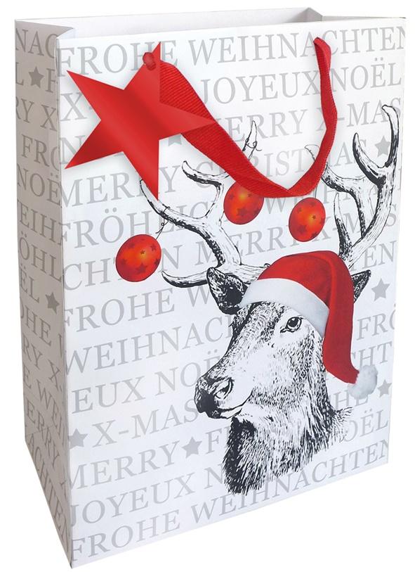 Geschenktasche Weihnachten Hirsch 25 x 33 cm