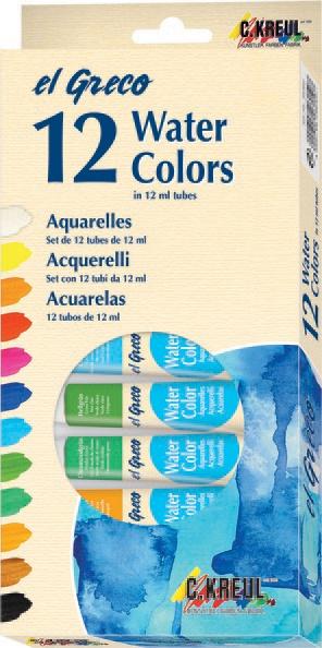 EL Greco Aquarellfarben-Set 12 Tuben a 12 ml