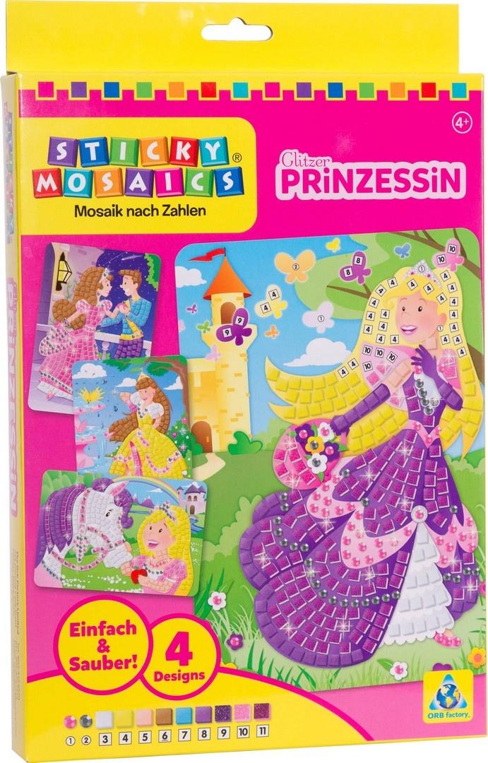 Bastelset Sticky Mosaik nach Zahlen Glitzer Prinzessin