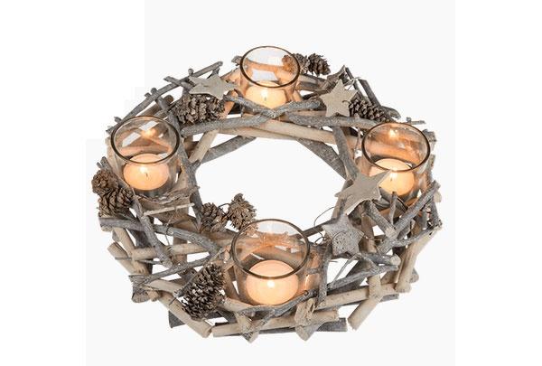 Adventskranz aus Holzzweigen mit Sternen 30 cm