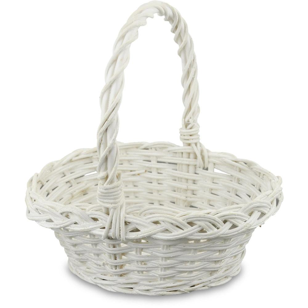 Streukörbchen mit Henkel oval, weiß