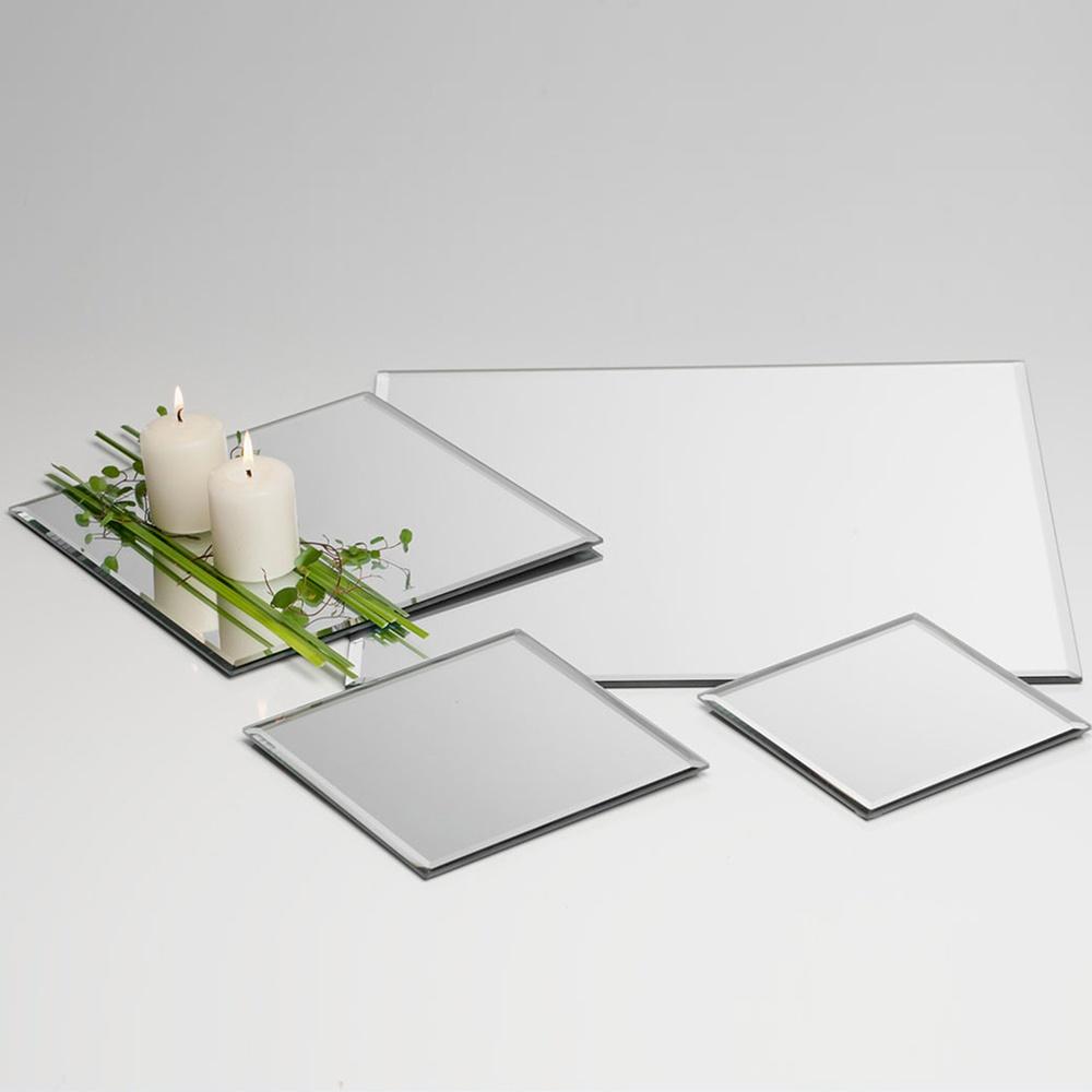 Kerzenteller Glas-Spiegel 15 cm