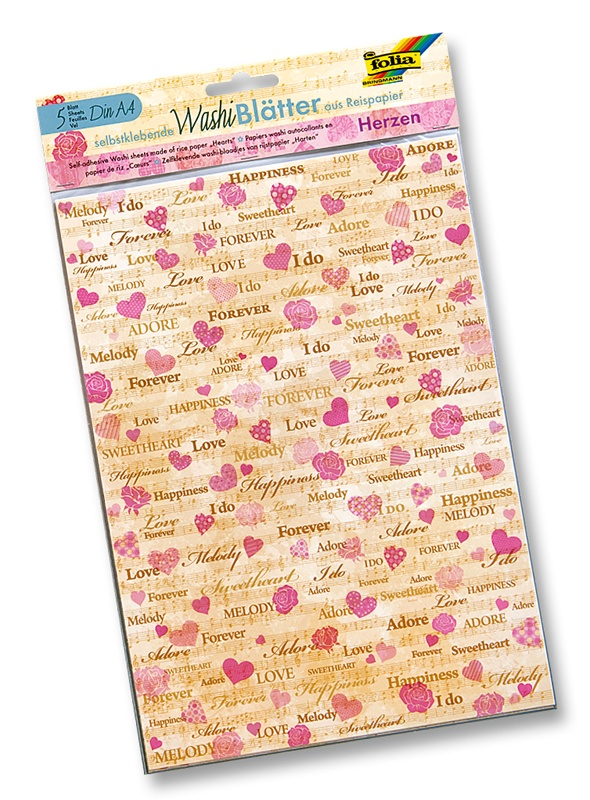 Folia Washiblätter A4 Herzen 5 Blatt