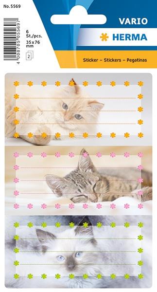 Herma Buch-Etiketten Katzen mit Glimmer