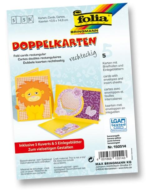 Folia Doppelkarten mit Umschlag bananengelb