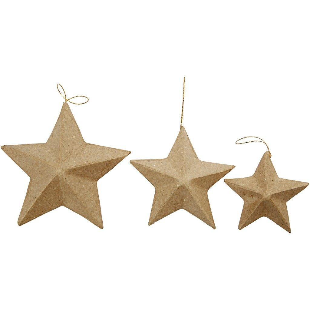 Pappmaché Deko-Sterne zum Anhängen 6 Stück