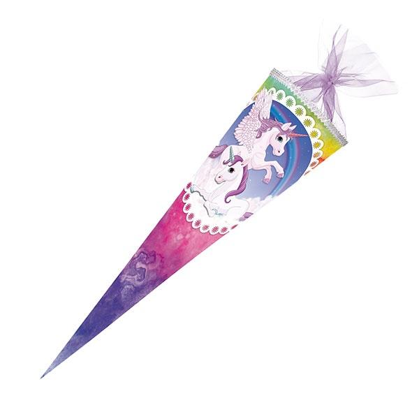 Schultüte Pegasus-Regenbogenbunt mit Glitzer 70 cm