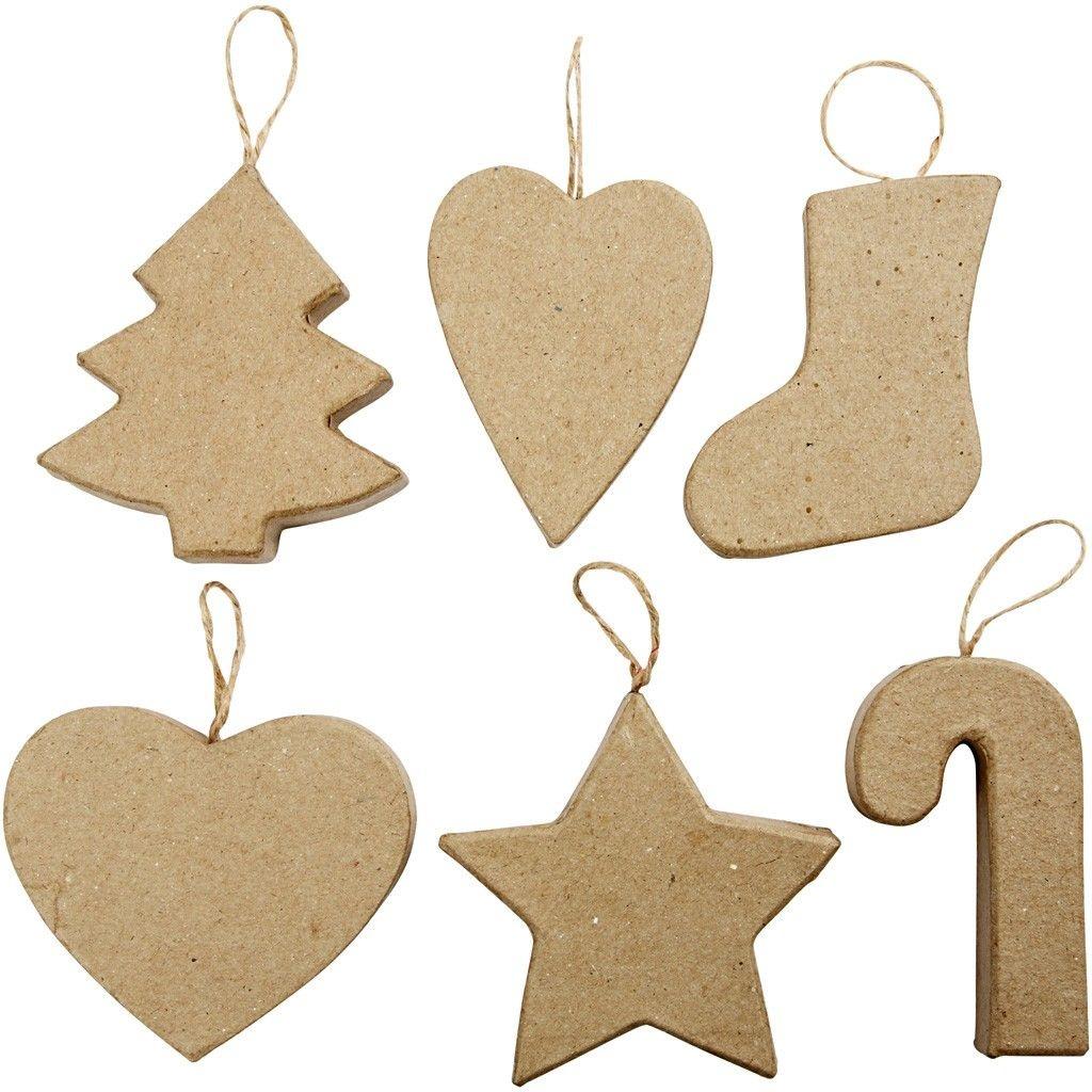 Pappmaché Weihnachtsfiguen zum Aufhängen 6 Stück
