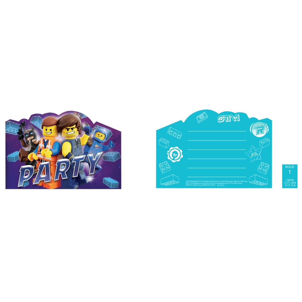 Party-Einladungskarten Lego Movie 8 Stück mit Umschlag