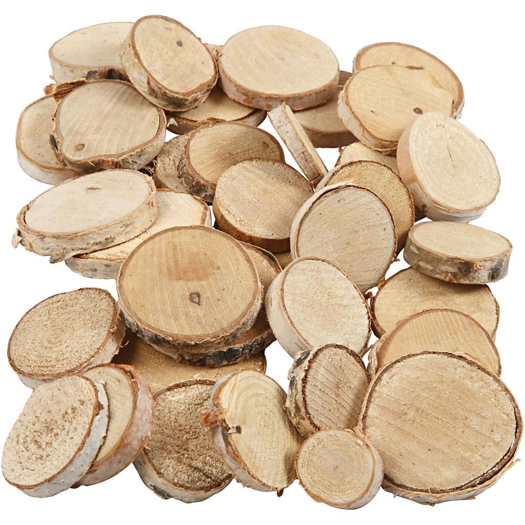 Bastelmaterial rustikale  Holzscheiben 25 - 45 mm  600 g
