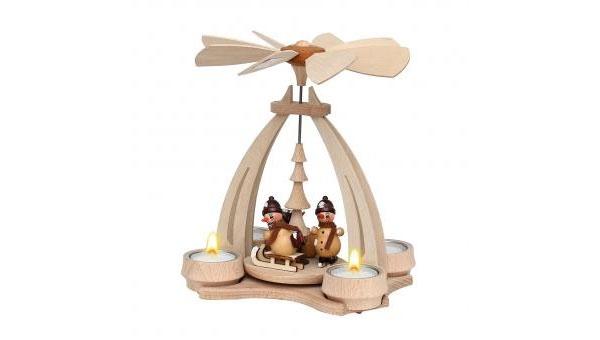 Weihnachtspyramide Schneemänner für 4 Teelichter
