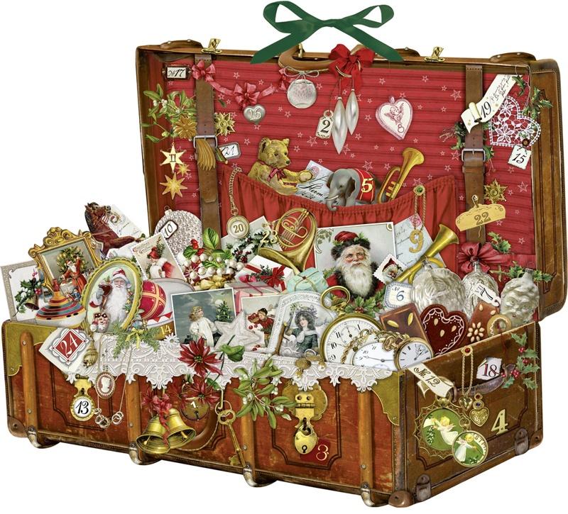 Adventskalender Nostalgischer Weihnachtskoffer