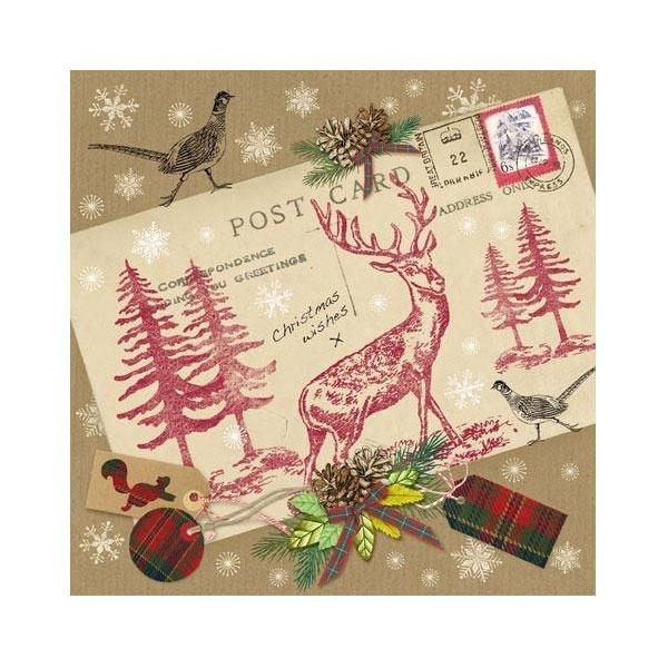 Servietten Weihnachten Vintage Postcard with Stag