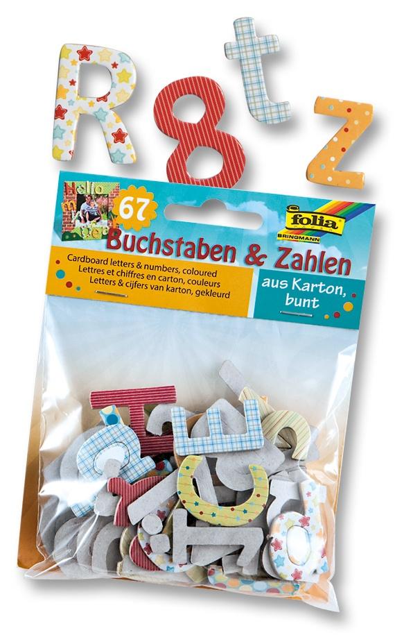 Folia Kartonstanzteile Buchstaben & Zahlen  farbig