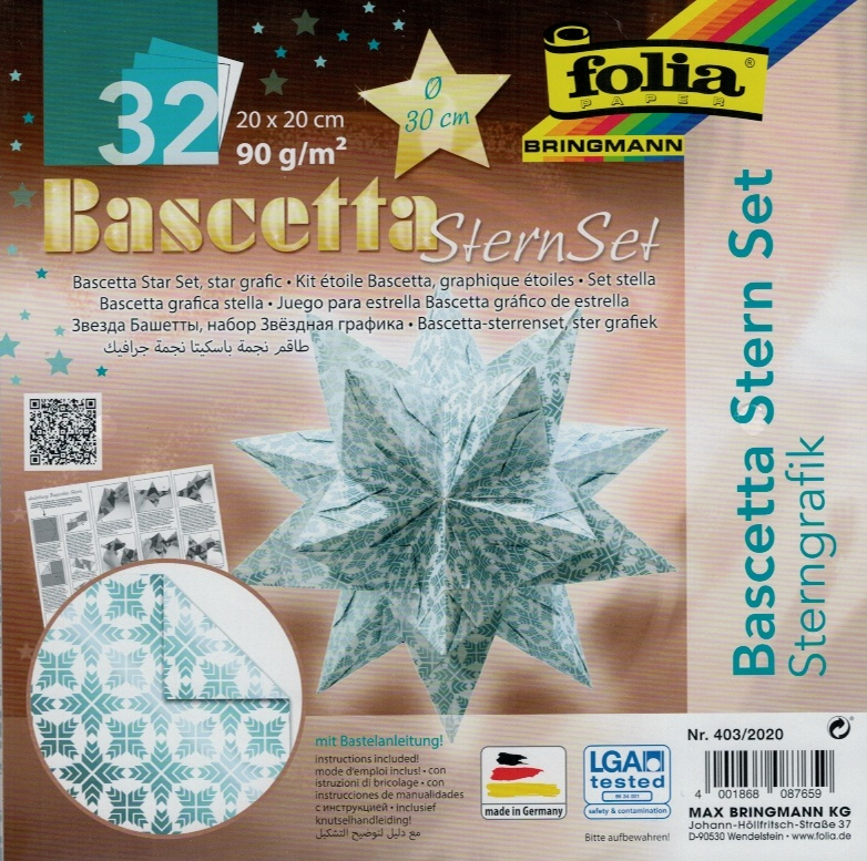 Folia Bastelset Bascettastern Sterngrafik weiß/eisblau