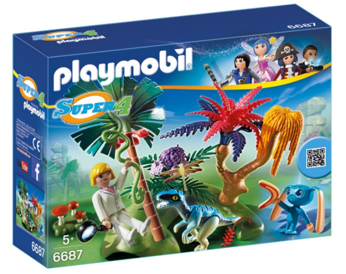 Playmobil 6687 Super4  Lost Island mit Alien und Raptor