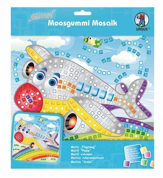 Moosgummi Mosaik Glitter Flugzeug