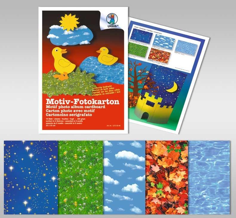 Bastelblock Motiv-Fotokarton Natur