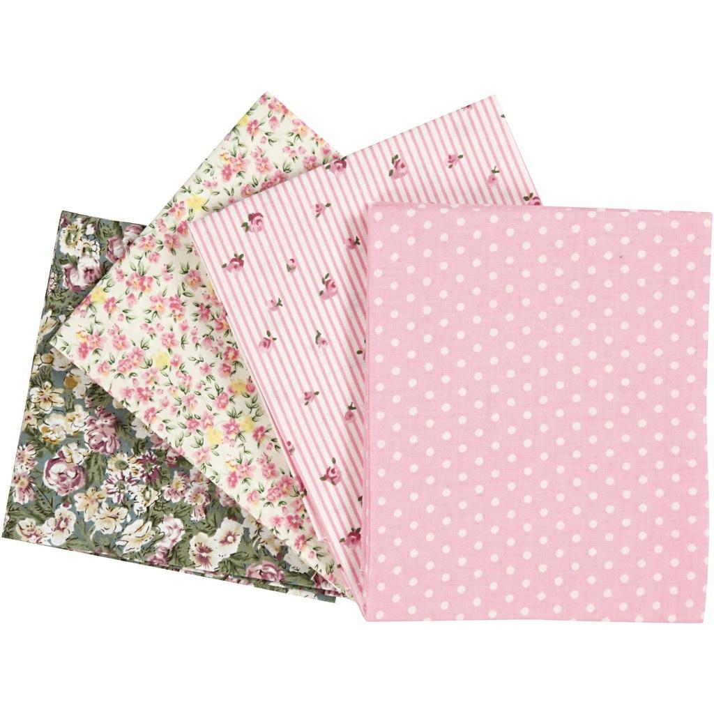 Patchwork-Stoff 45 x 55 cm rosa 4 Stück