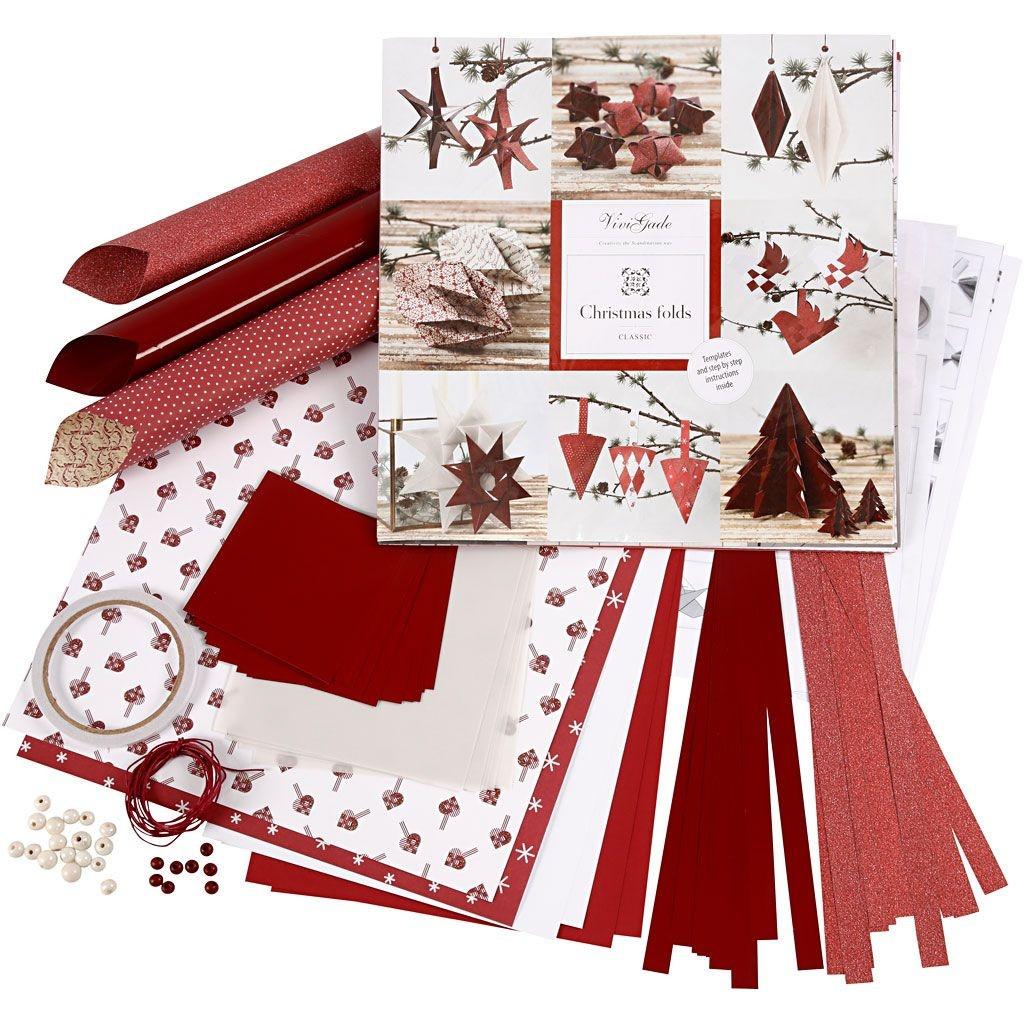 Bastelmappe Set zum Flechten & Falten weiss rot Weihnachten