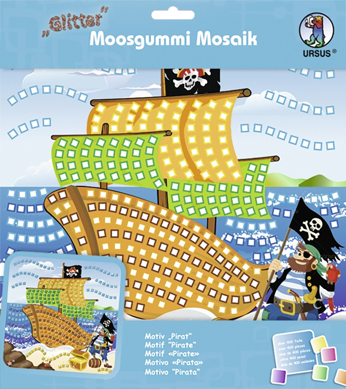 Moosgummi Mosaik Glitter Pirat