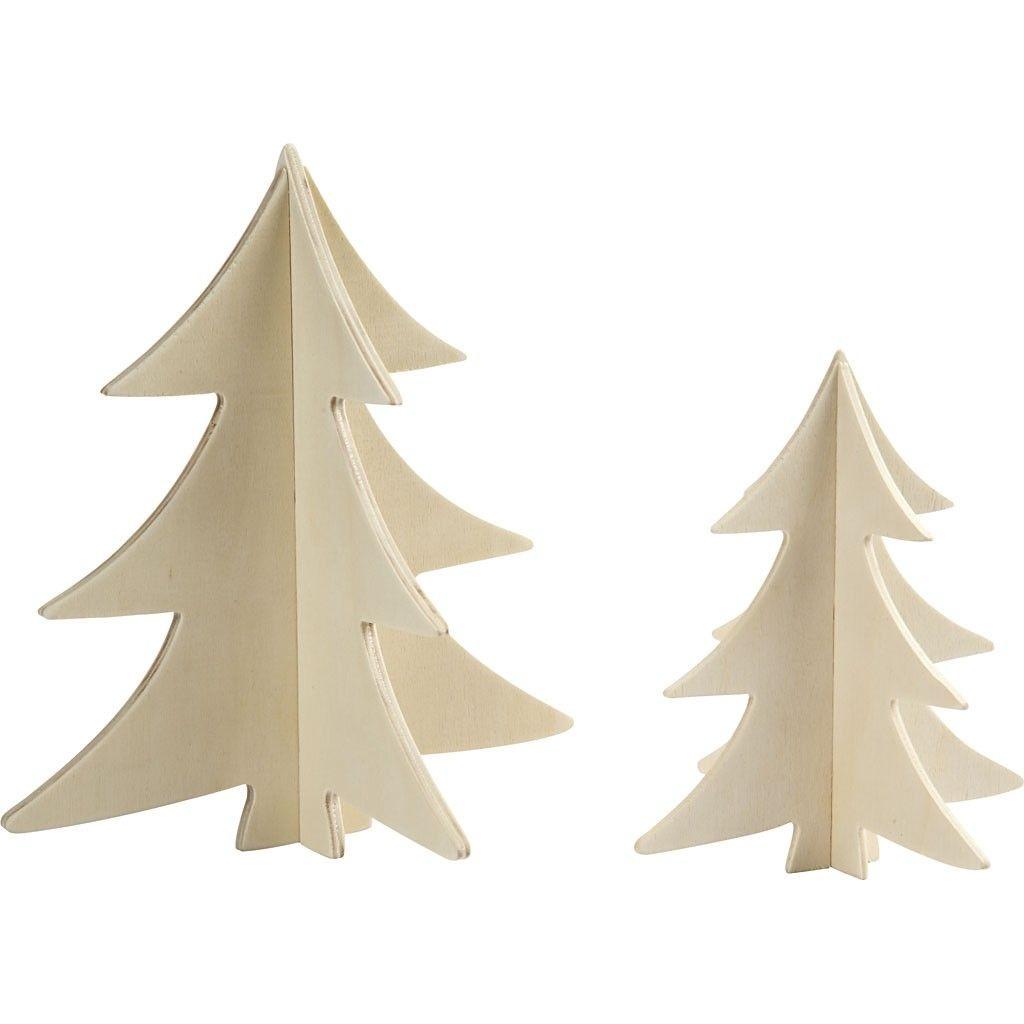 3D Weihnachtsbaum 13 + 18 cm 2 Stück Sperrholz