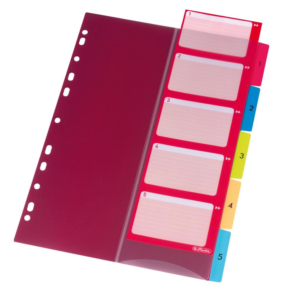 Register A4 farblich m. Indextasche 1-5