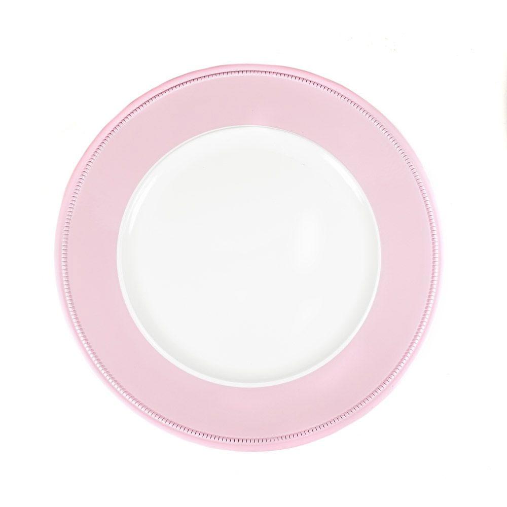 DekoTeller weiß-rosa glänzend 33 cm