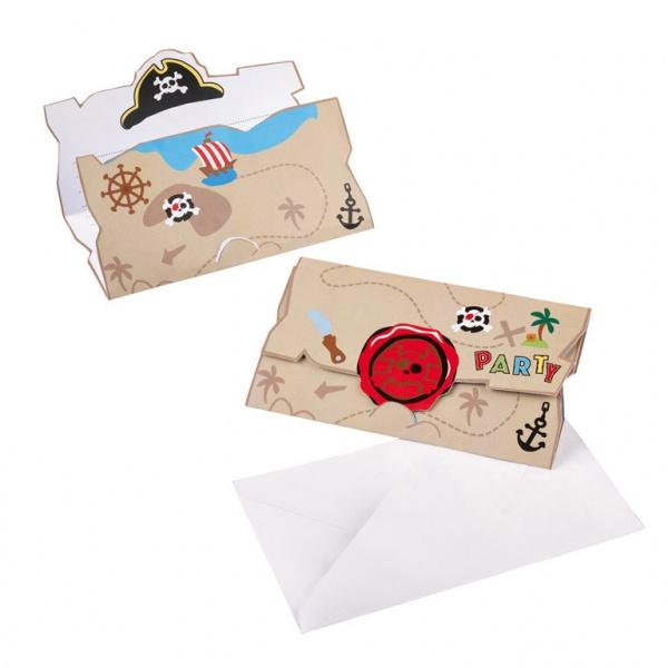 Einladungskarten Pirat 8 Stück