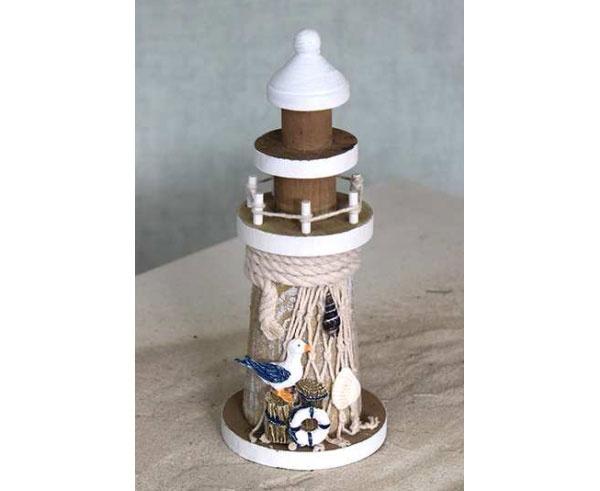Leuchtturm aus Holz mit Möwe 19 cm Maritim-Dekoration