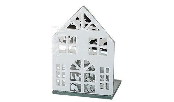 Teelichthalter aus Glas Winterhaus Haus weiß