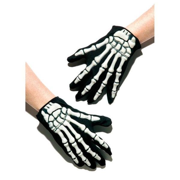 Kostüm-Zubehör Handschuhe mit Skelett-Applikation schwarz-
