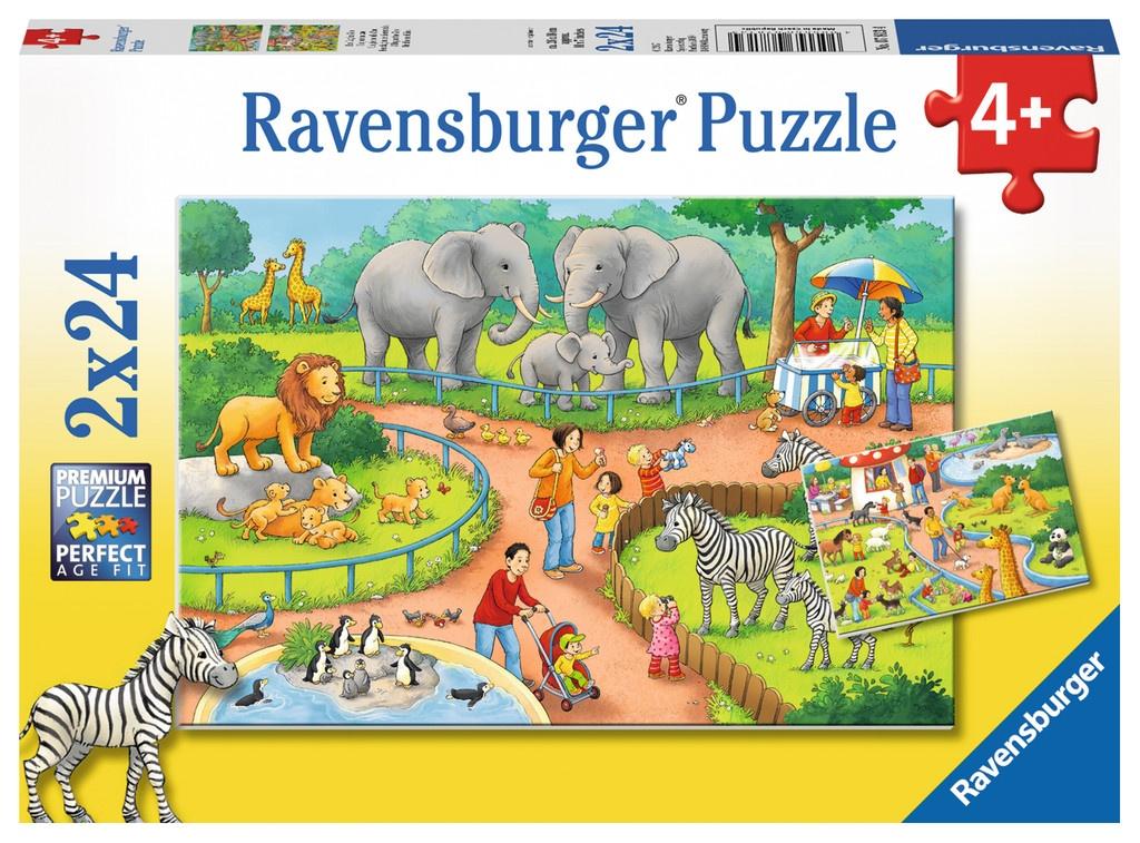 Ravensburger Puzzle Ein Tag im Zoo 2 x 24 Teile