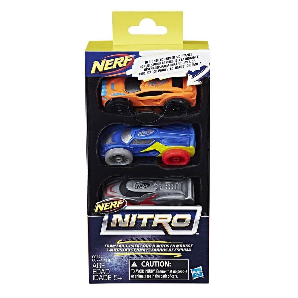 Nerf Nitro Soft Racer 3er Pack orange/blau/grau