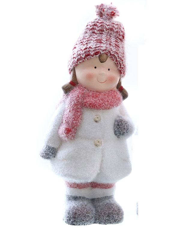 Dekofigur Winterkind Winter-Kind mit Mütze Mädchen 25,5 cm