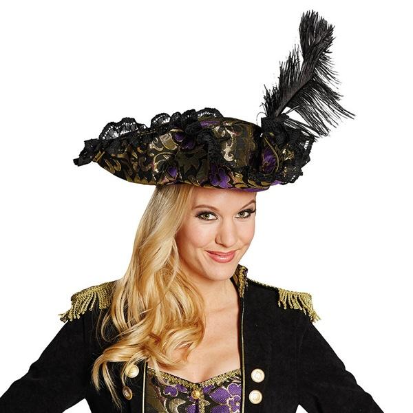 Kostüm-Zubehör Piratenhut Edelpirat lila
