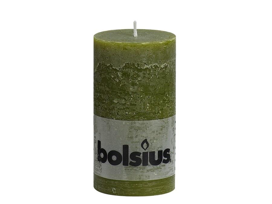 Bolsius Rustik Stumpenkerze 130/68 mm oliv